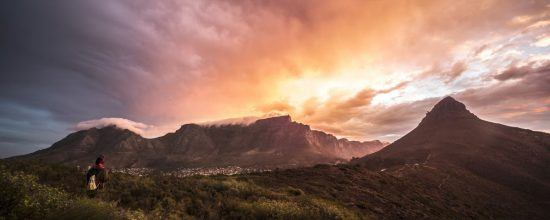Sunset lit up the clouds over Table Mountain and Lion's Head