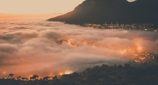 The fog rolled in at sunrise over Cape Town