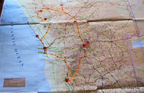 """""""Here is a well worn old friend, our trusty map. I was the navigator and know this paper very well now. """"Our journey has taken us from Windhoek, to the dunes at Sossusvlei, to the Skeleton coast, to the mountains of Southern Damaraland and the Plateaus of the north."""""""