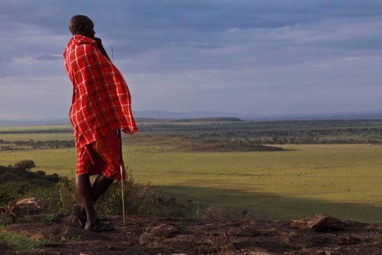 Masai Mara warrior overlooking the plains