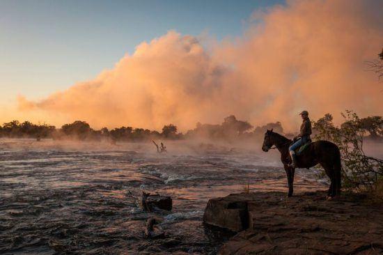 The majestic Zambezi River viewed on horseback