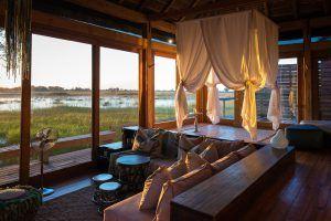 Schlafzimmer des Vumbura Plains in Botswana