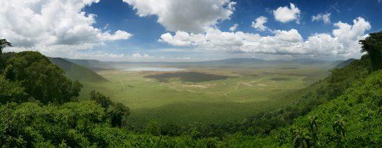 Panoramic view of the Ngorongoro Crater in Tanzania