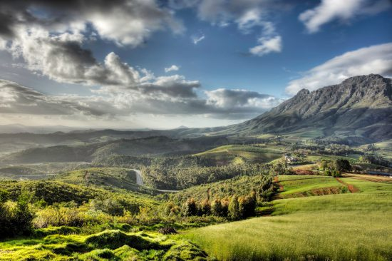 View of Stellenbosch wine region and Simonsberg Mountain