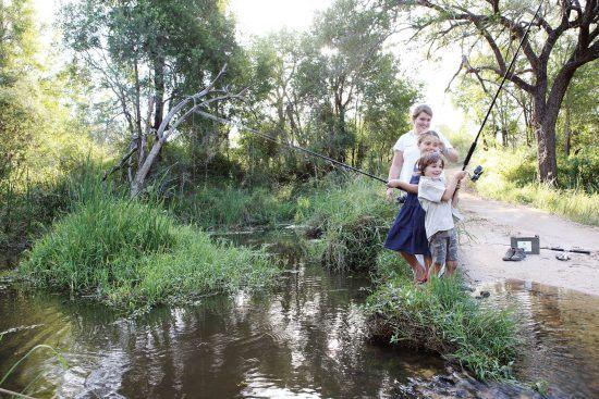 Children enjoy fishing activities at Londolozi