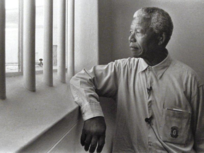 Nelson Mandela in seiner Zelle auf Robben Island
