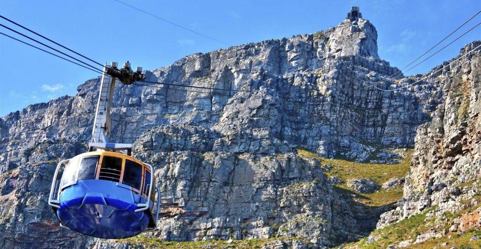 Die Seilbahn auf dem Weg auf den Tafelberg in Kapstadt