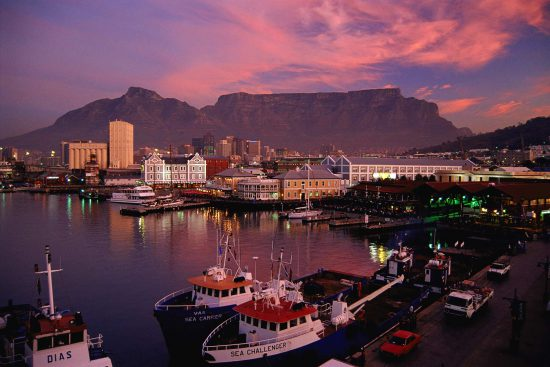 V&A Waterfront in the light of a pink sunset