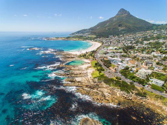 Vista aérea de Camp's Bay, na África do Sul