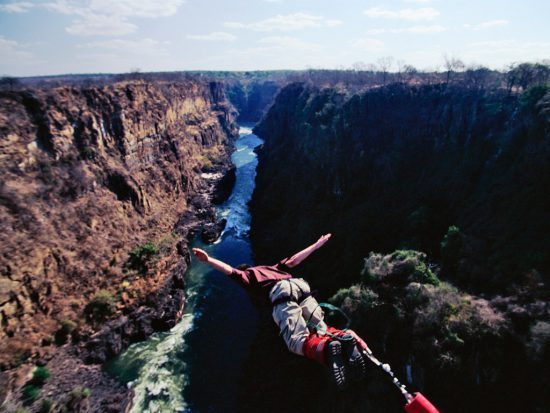 Bungee jumping into Victoria Falls, Zimbabwe