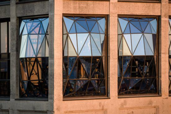 Close-up of the detailed windows of the Silo Hotel