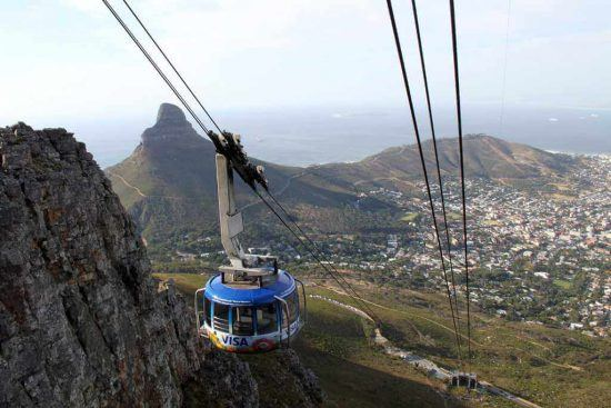 The Cable Car takes visitors up to the top of Table Mountain