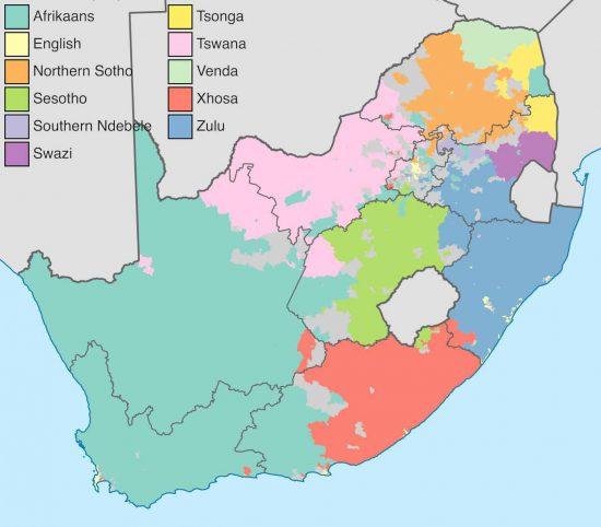 Die elf offiziellen Landessprachen von Südafrika.