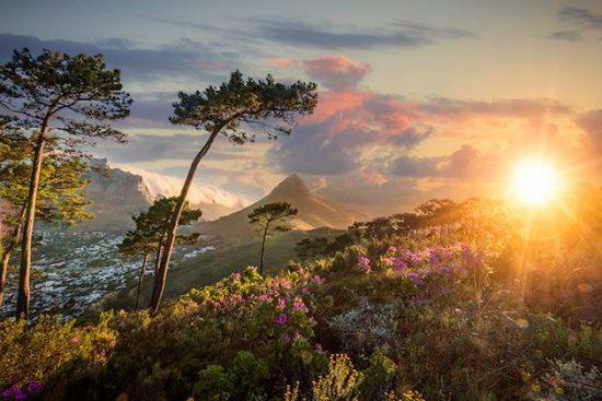 Pôr do sol a partir do Signal Hill na Cidade do Cabo
