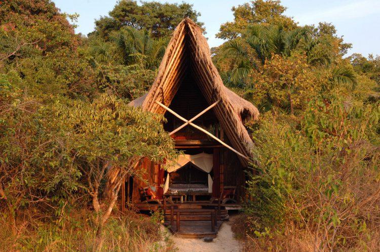 Inmitten grüner Bäume steht eine Hütte
