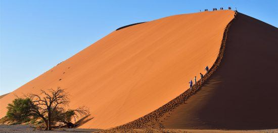 A hike up the dunes at Sossusvlei promises great rewards in terms of views
