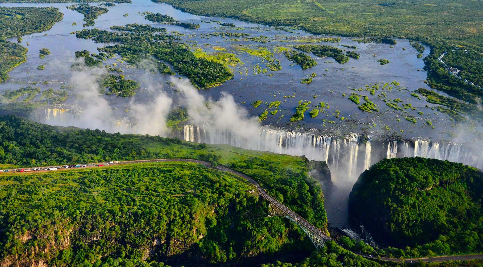 Vista aérea de las cataratas Victoria