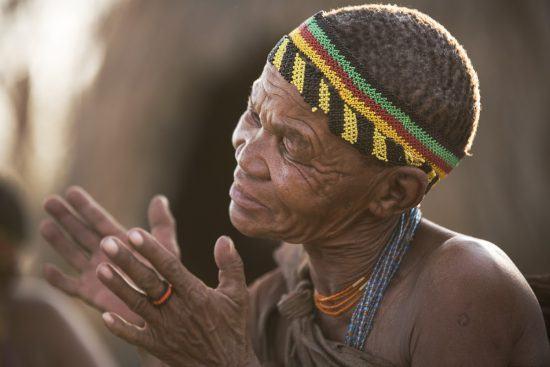 A man in Botswana wearing a head piece