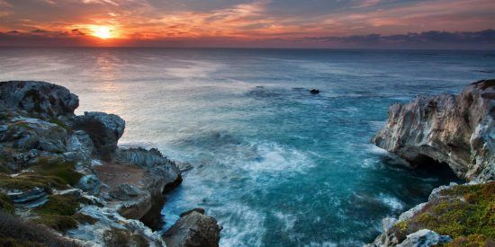 Arniston whale viewing in South Africa, sunset