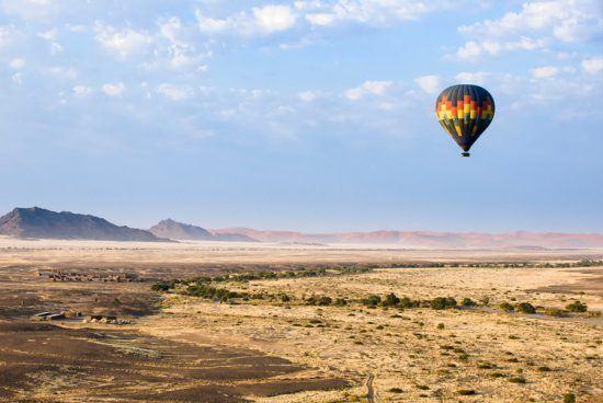 Observe animais selvagens como um passarinho observa em um safári num balão de ar quente
