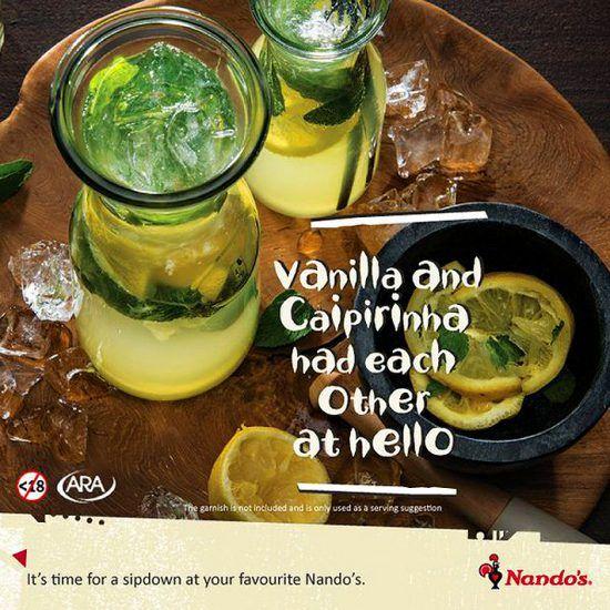 Caipirinhas vendidas pela rede de restaurantes sul-africana Nando's