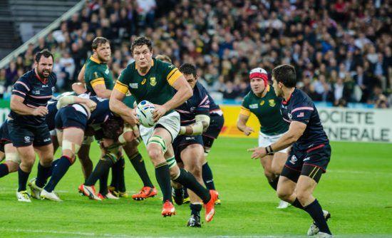Szene aus einem Rugbyspiel der südafrikanischen Nationalmannschaft - Südafrika Reiseführer