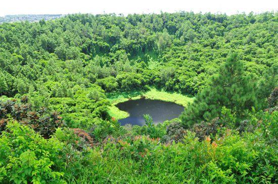 Der von grünem Regenwald umgebene Vulkan Trou-aux-Cerfs auf Mauritius