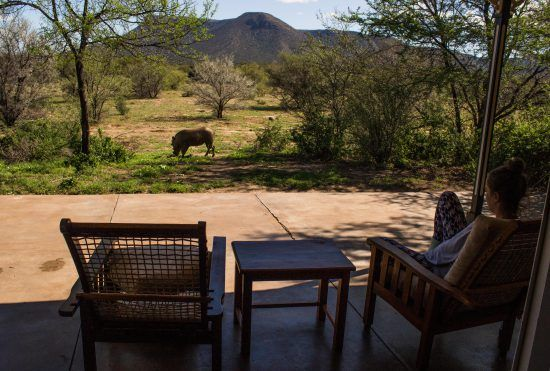 Views into the bush from outside a room in Botswana