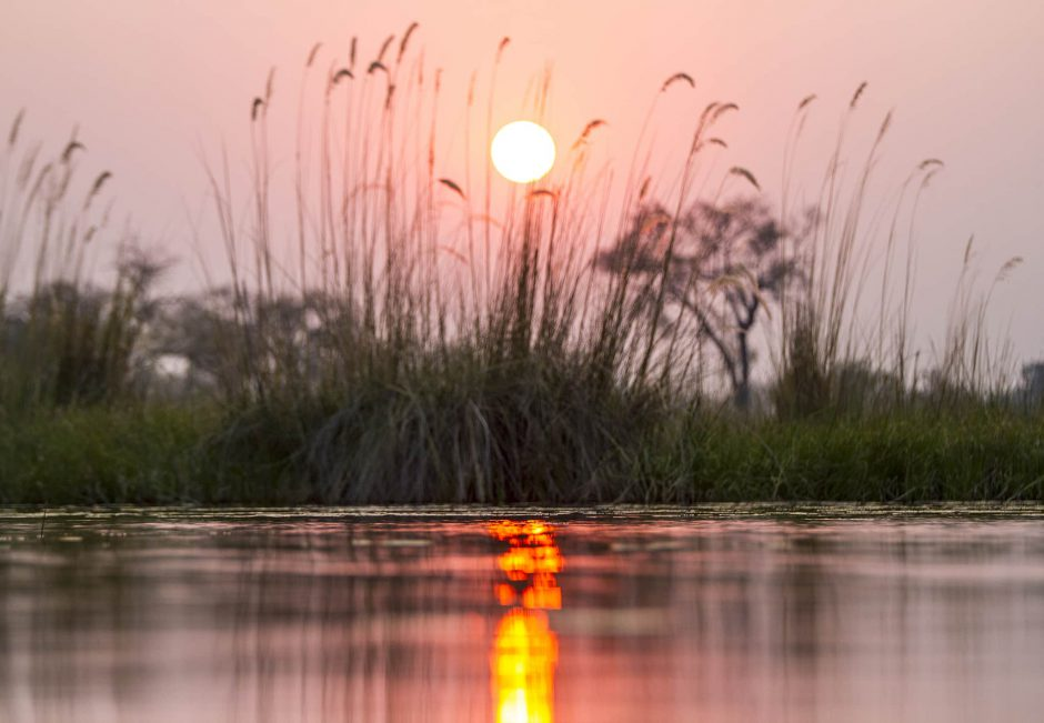 A beautiful sunset at Vumbura Plains Okavango Delta Botswana