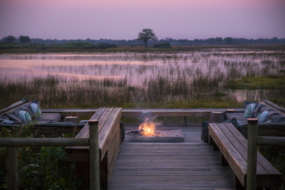 sunset campfire lodge vumbura plains okavango delta botswana