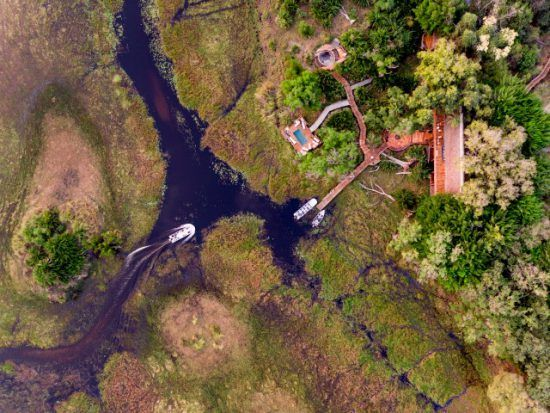 Die grüne Landschaft des wasserreichen Okavango Deltas von oben