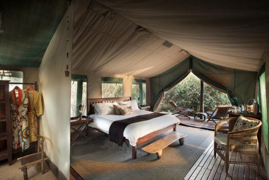 The luxurious tent interior of Kanga Camp