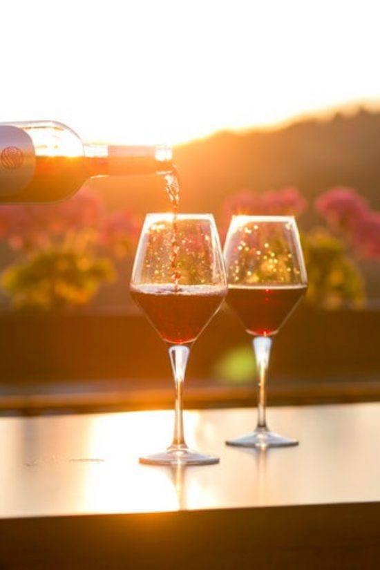 Weingläser im Sonnenlicht, Weinprobe im Kapweinland