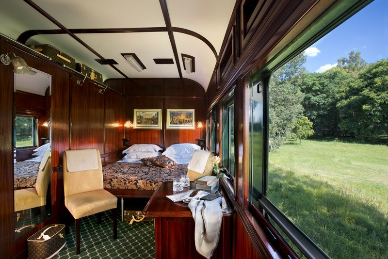 Luxurious interiors of the Rovos Rail Deluxe Suite