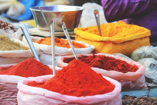 Spice powders at a market