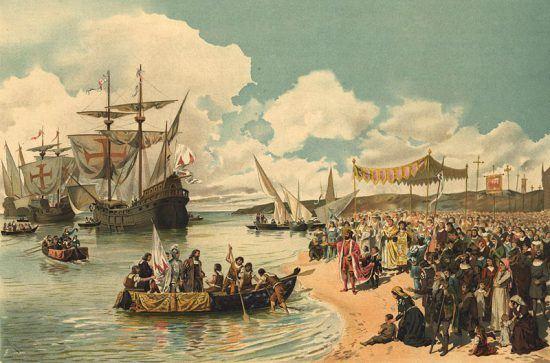 Seefahrer legen an Küste an
