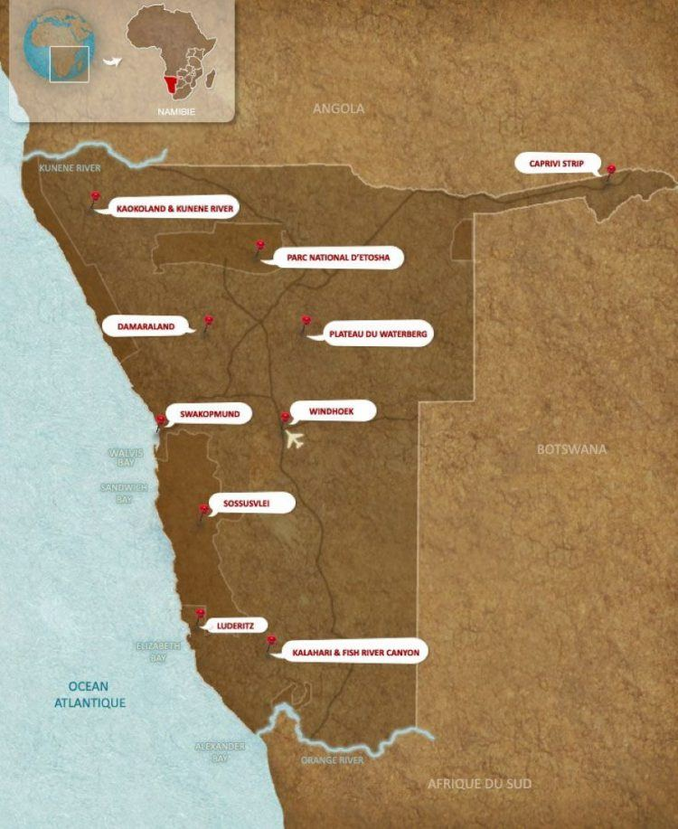 Carte Namibie et centres d'intérêts