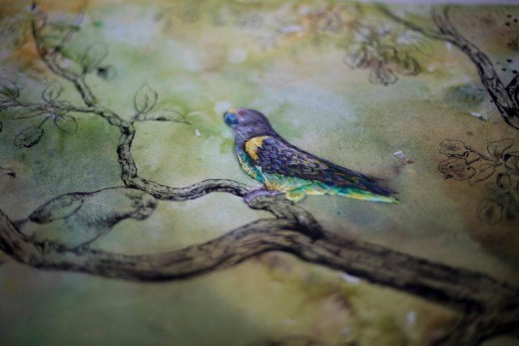 Détail brodée sur aquarelle à Silvan Safari