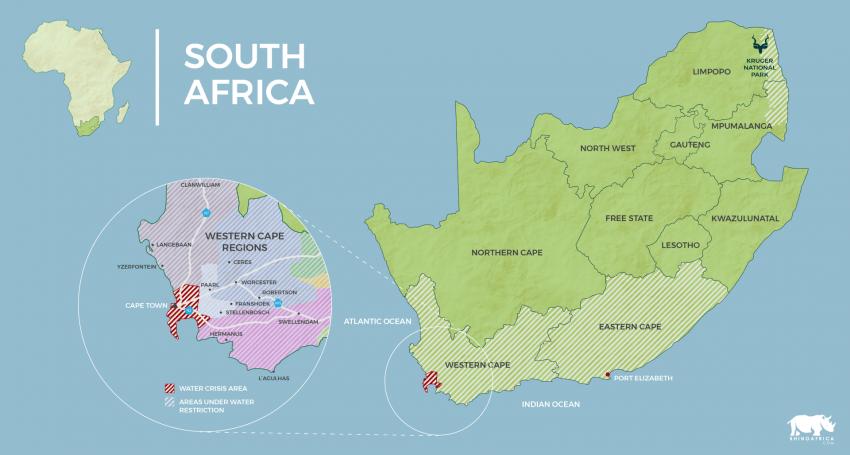Mapa de Sudáfrica y el Cabo Oeste