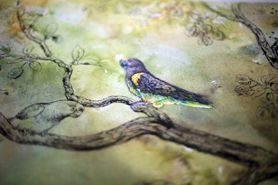 Uma das aquarelas encontradas nos quartos de Silvan Safari. Foto: Silvan Safari