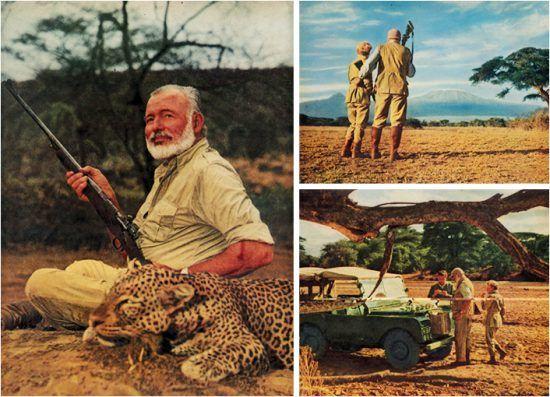 Hemingway em uma de suas expedições de caça pela África. Hoje, os únicos objetos a serem apontados em direção aos animais são câmeras fotográficas.