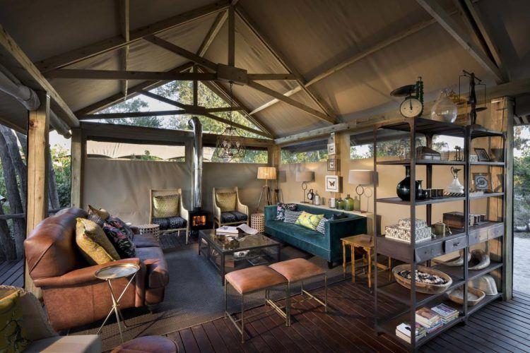 Khwai Tented Camp et sa tente de luxe en extérieur au Botswana