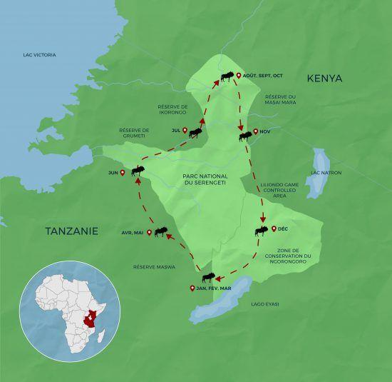 Carte de la Grande Migration et son trajet entre la Tanzanie et le Kenya.