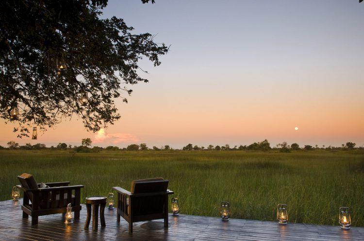 Nxabega camp at sunset