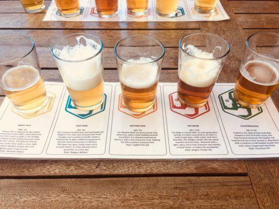 Biergläser auf Blatt mit Beschreibung