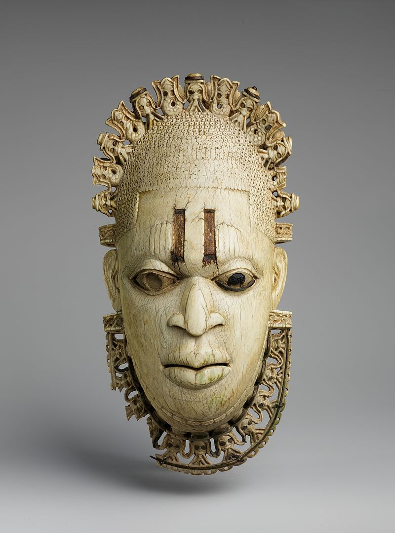 An ivory mask of Queen Idia, made in the 16th Century