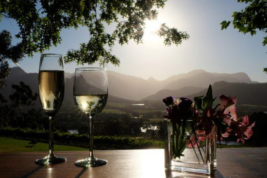 Two glasses of wine in the middle of picturesque vineyards near Cape Town