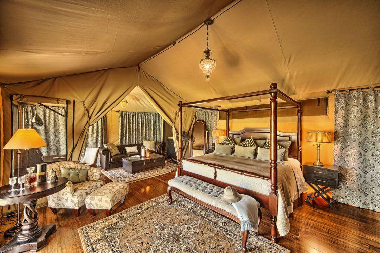 Luxurious tented room at Sand River Masai Mara in Kenya