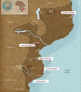 carte du mozambique, destination idéale pour combiner plage et safari