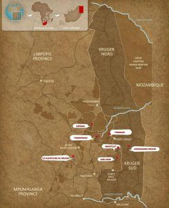 carte parc du parc kruger, destination idéale pour combiner safari et plage